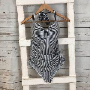 Tommy Bahama 1 Piece Blue Stripe Swim/Bathing Suit